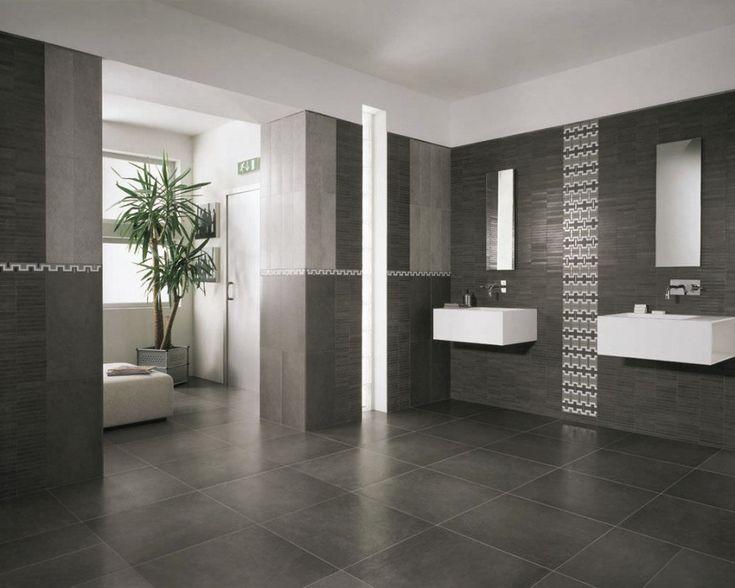 Bathroom Grey Bathroom Floor Tiles With Two Wall Sinks And Mirror