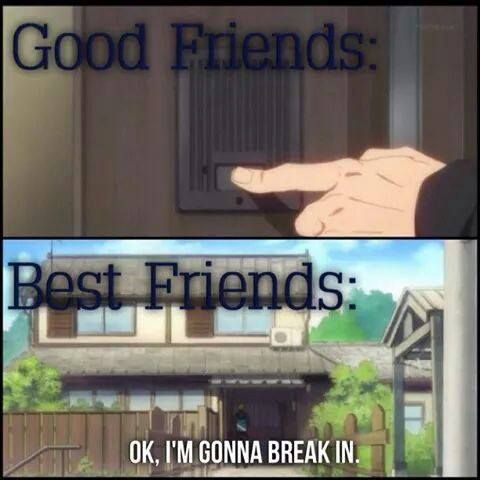 Friends and Best friends. A friend of mine actually breaks in at times! XD