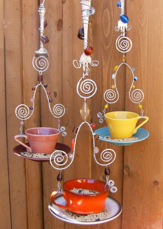 Artsy Bird Feeder... old forks, a little wire, cups & saucers & some jewels...great bird feeder
