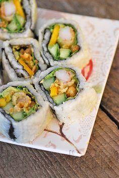 Les gourmandises d'Isa: SUSHIS À LA MAISON : MAKIS CREVETTE TEMPURA À LA MANGUE