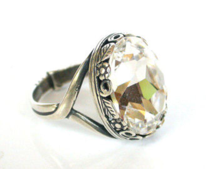 Solitario de Swarovski anillo - anillo de compromiso estilo victoriano - victoriano joyería gótica