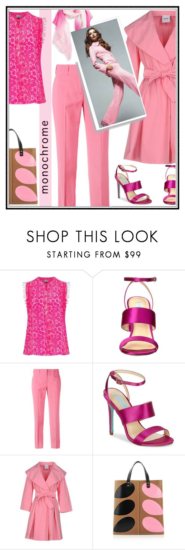 """""""Powerful pink"""" by kleinwillwin ❤ liked on Polyvore featuring Mercy Delta, Betsey Johnson, Ermanno Scervino, Moschino Cheap & Chic, Orla Kiely and Caslon"""
