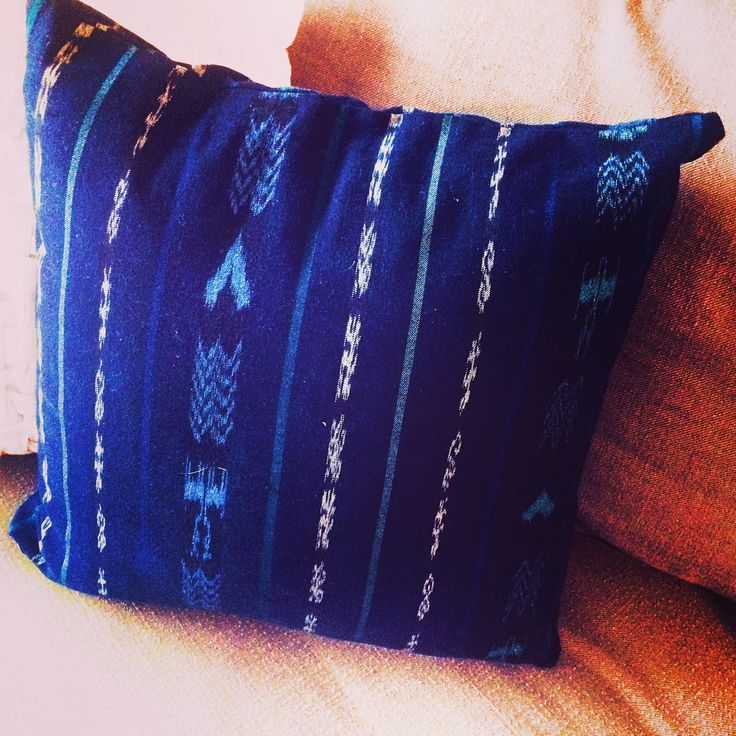 Hand made Throw Pillow Woven on the back strap loom by fair trade co-ops in Guatemala, dyed indigo with natural colorants, chemical free ..