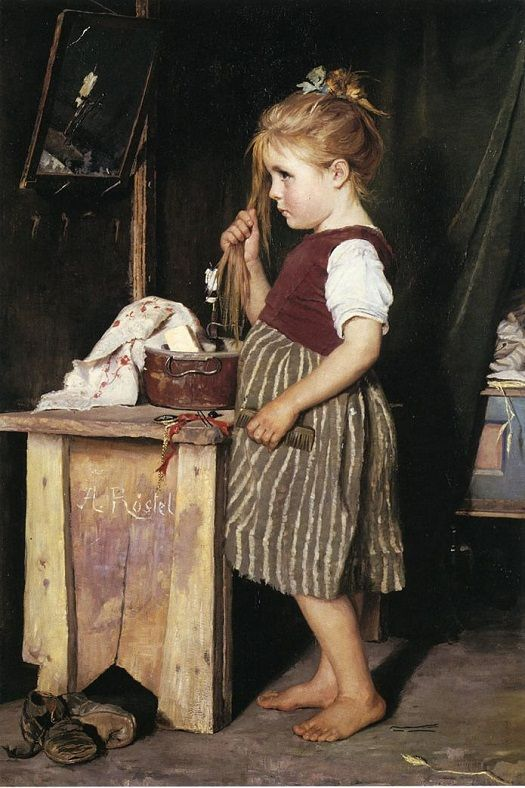 Agathe Rostel. Young Girl Combing Her Hair