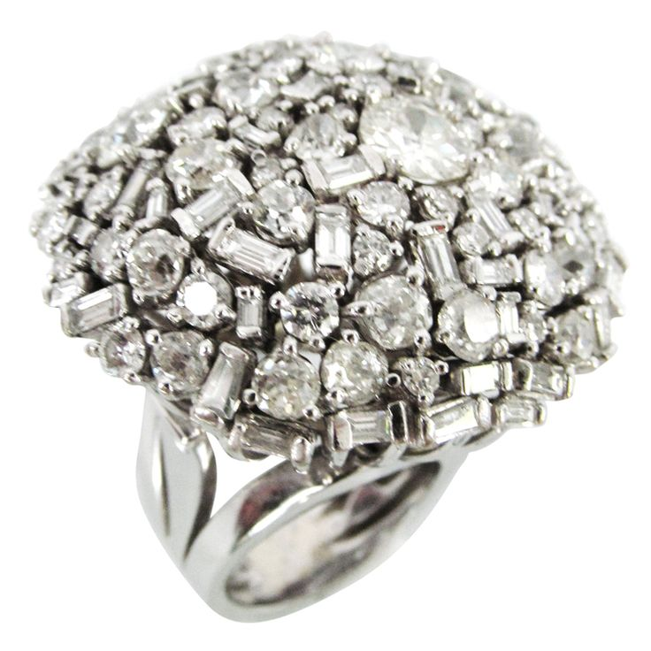 Spectacular Disco Ball Diamond Cocktail Ring | From a unique collection of vintage dome rings at http://www.1stdibs.com/jewelry/rings/dome-rings/
