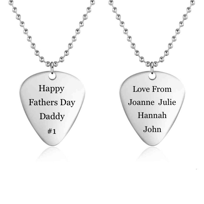 FATHERS DAY SALE! 10% off + a Gift with your purchase of AU$80 or more + postage is included to most locations Worldwide! Voucher Code NO1DAD (T&C's Apply) >>>  Personalised Guitar Pick Necklace - Stainless Steel
