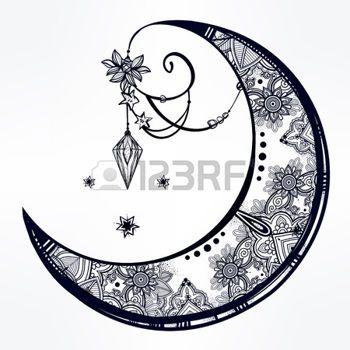 tatouage lune: Main complexe dessiné croissant de lune ornée de plumes, de pierres précieuses. Isolé art vecteur illustration.Tattoo, l'astrologie, la spiritualité, l'alchimie, la magie symbole. Ethnique, tribal élément mystique pour votre usage