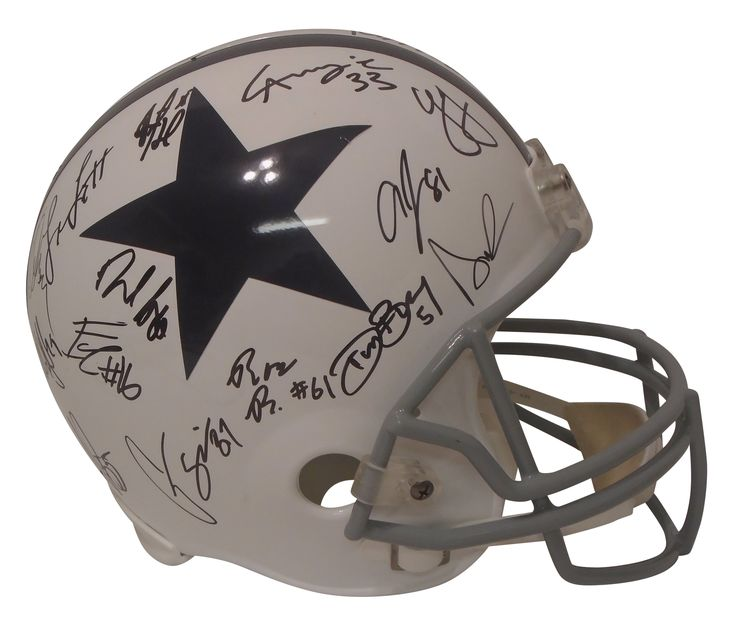 2017 Dallas Cowboys Team Autographed Throwback Style Riddell Full Size Football Helmet, Proof