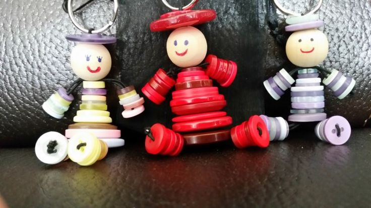 1 Button Person Keyring Handmade Gift Upcycled man lady people Mothers Day Multi