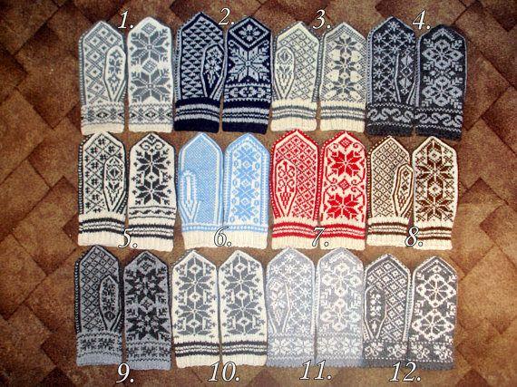 Nordic Mittens Hand Knitted Wool Mittens Norwegian Mittens
