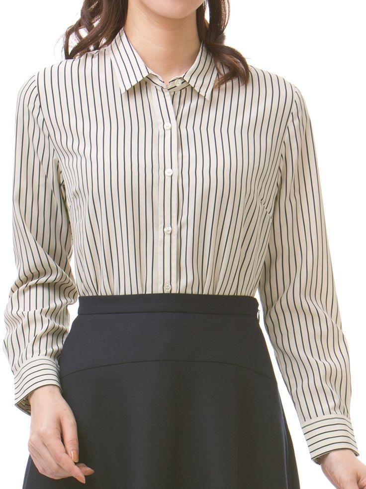 【シルバーライン】シャツカラー 長袖カットソー【AOKI】レディーススーツ・ジャケット・礼服・ネクタイ・シャツも充実