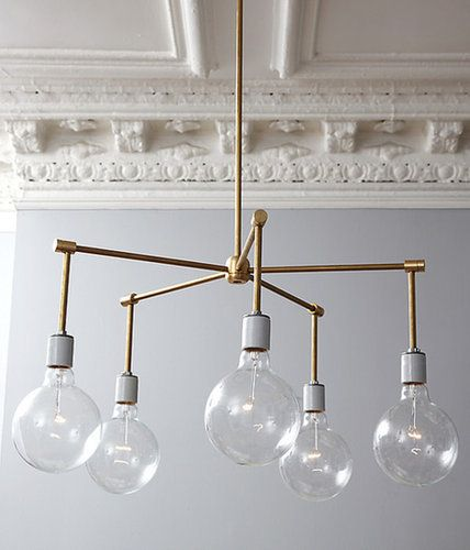 Put your crafty pants on and get ready to work some DIY magic in the form of this brass chandelier. After the parts have been ordered, you're just a quick assembly away from a sleek and contemporary lighting fixture. Source: One Kings Lane