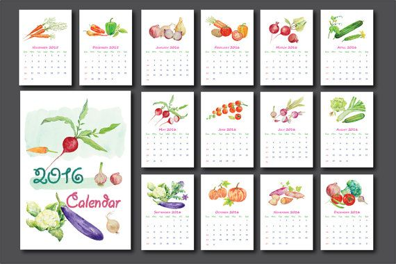 2016 Calendar printable - watercolor vegetables monthly calendar - 8 x 11.5 15 pages of 2016 monthly calendar 8 x 11.5. 1 cover page and 14 monthly
