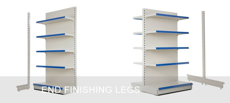 End finisher legs for shop shelving units