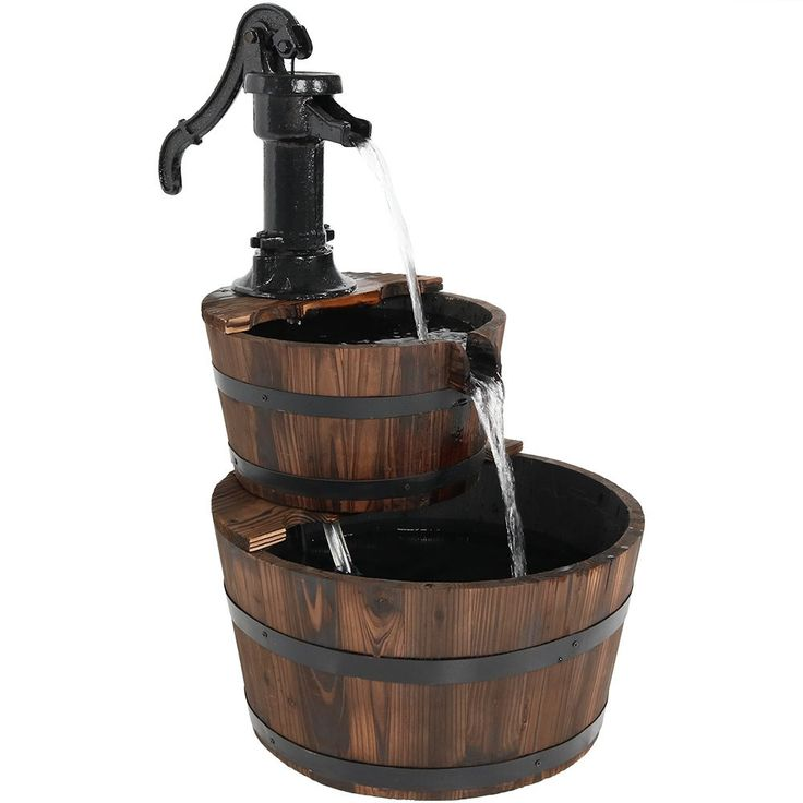 Sunnydaze Antique Stacked Wood Barrel Garden Fountain with Water Pump, 27 Inch Tall, Includes Electric Submersible Pump, Brown (Iron), Outdoor Décor