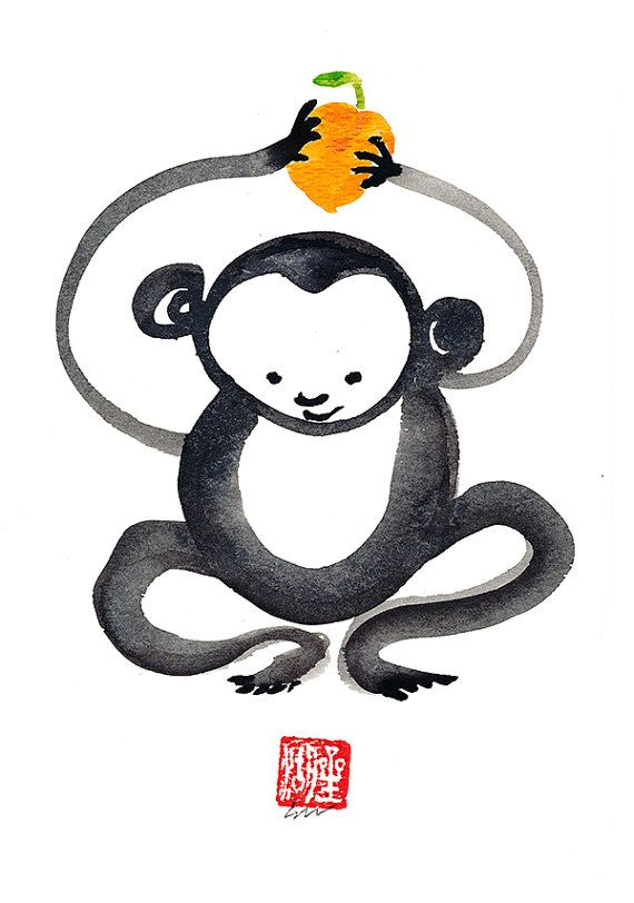 Year of the Monkey in the Chinese Zodiac, Monkey Mind original unique Sumi ink Painting Happy 2016. Year of the monkey begins February 8, 2016  Do you
