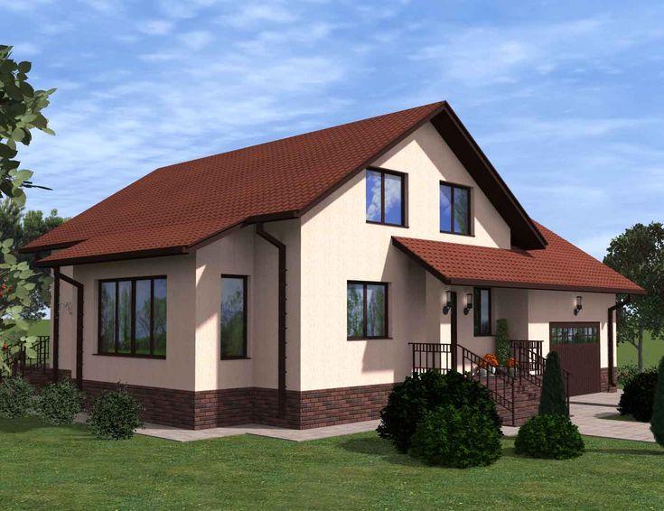 Проект двухэтажного коттеджа с террасой до 200 кв.м.