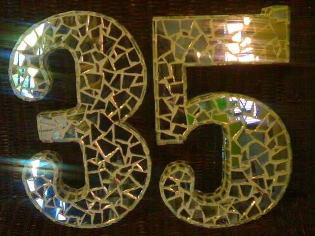 SOLD - Mosaic house number, created by Samuel Friday, broken mirror on board.