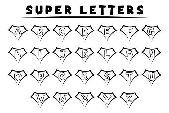 Super letters - tattoo style by stockimagefolio on @creativemarket