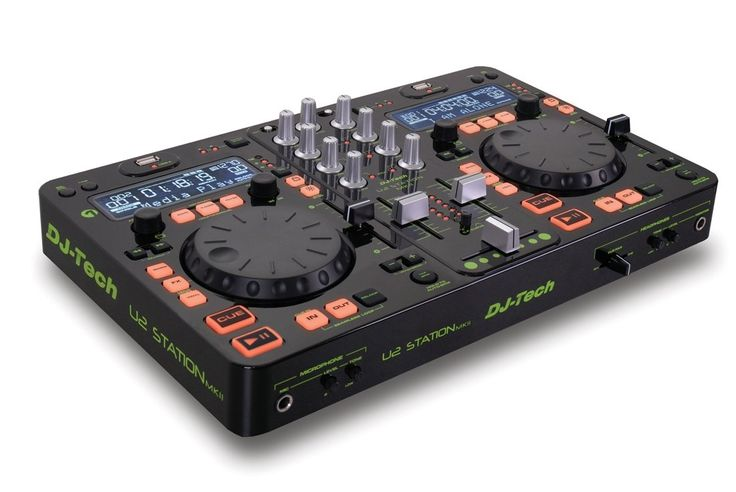 DJ Tech U2 Station MKII Twin MP3 Player/USB Dock and 2-channel DJ Mixer with 3 Band EQ and 4 Effects/Scratch