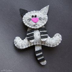 Kiciuś broszki tinyart filc lekki kot prezent