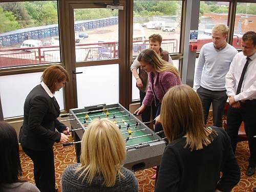 Table football can be played by two teams of two players each or by two individuals. The object of the game is to be the first team or player to score a pre-determined number of points or to score the most points in a given amount of time. Area required 4' x 4' Available for hire & based near London.