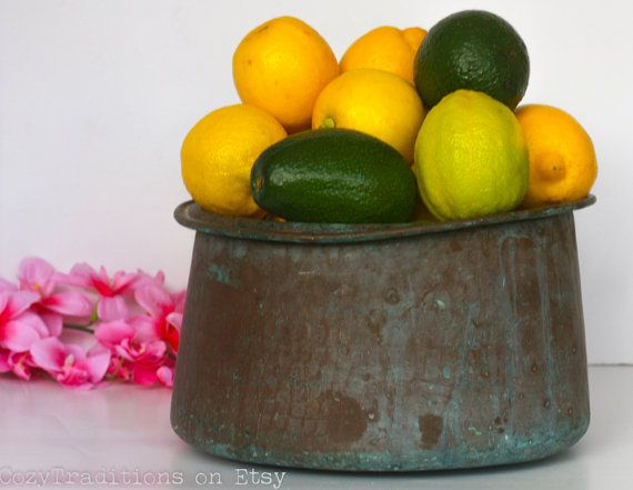 Large Fruit Bowl: Hammered Copper Fruit Pot by CozyTraditions
