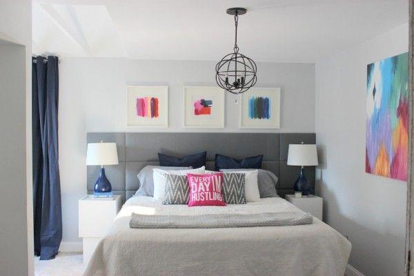 bett kopfteil grau schick farbige wanddeko ideen Schlafzimmer - schlafzimmer ideen grau