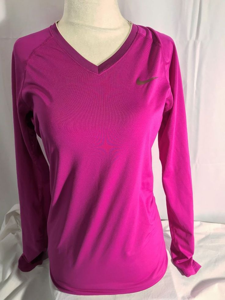 Nike Pro Combat Women's Shirt Fitted Dri Fit 363938-511 Vivid Grape Size Medium #Nike #ShirtsTops