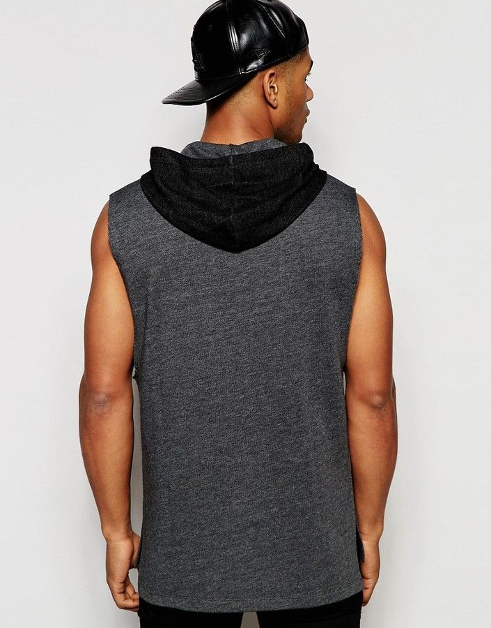 Asos Longline Sleeveless Hoodie With Drop Armhole
