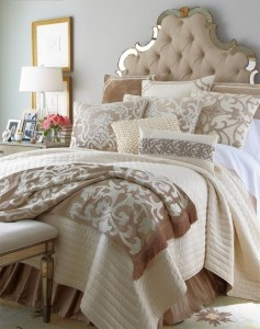this tufted headboard matched with the comforter is gorgeous