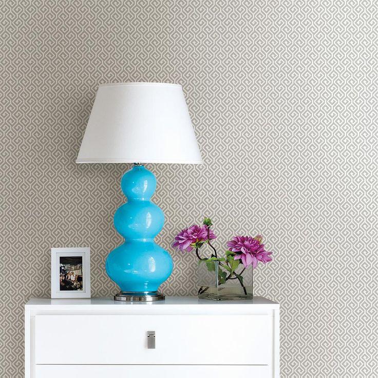 56.4 sq. ft. Sete Grey Greek Key Wallpaper