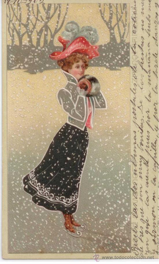 ice skating lady postcard renates ideen schnee eis. Black Bedroom Furniture Sets. Home Design Ideas