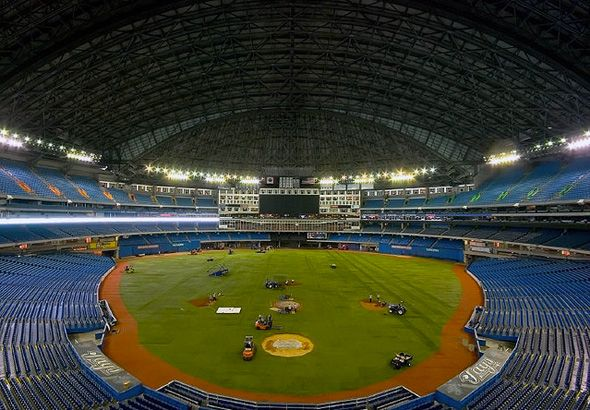 SkyDome, home of the TOronto Blue Jays, today... http://www.blogto.com/city/2012/01/a_look_back_at_the_birth_of_the_skydome/