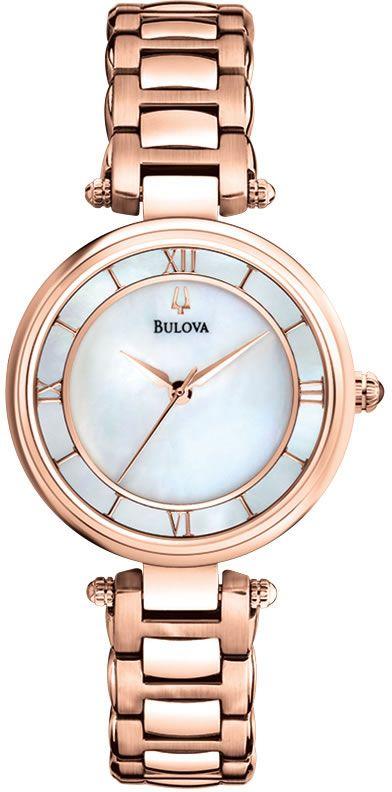 Zegarek damski Bulova Classic 97L124 z perłową tarczą, z kopertą i bransoletą w kolorze różowego złota  www.zegarek.net
