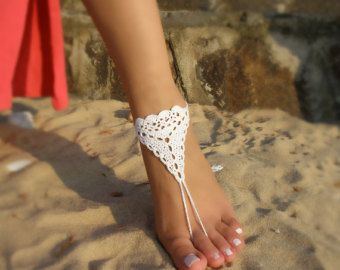 gray linen Barefoot Sandals women barefoot Crochet barefoot