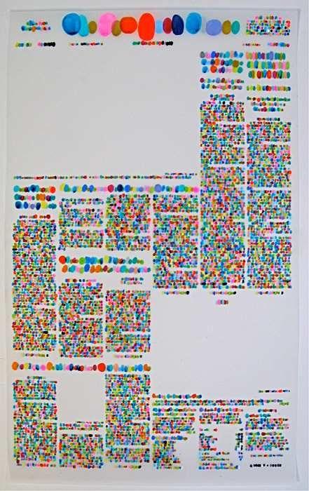 Lauren DiCoccio. Newspaper layout in color typography.