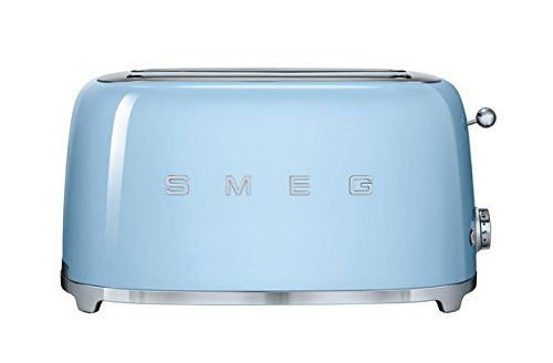 Smeg 50's retro style appliances will add a pop to any kitchen! With a powder coated steel body, polished chrome base, stainless steel ball lever knob and backlit chrome knob, Smeg toasters are made to last and will never go out of style. 2 extra wide slots with self-centering racks Automatic slice pop up Anti-slip feet Removable stainless