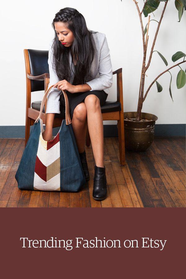 Denim chevron tote shoulder bag. Shop unique clothing & accessories on Etsy.