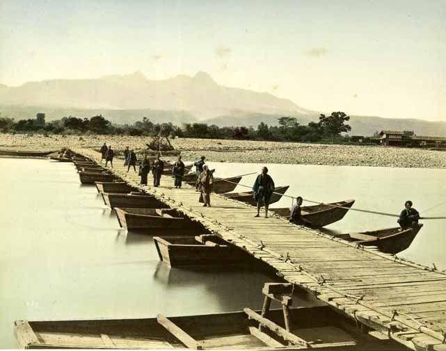 boat bridge .Tone river