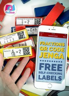 Looking for a self-checking way to engaging your upper elementary students in fraction skill review? Then be sure to download these FREE QR Code Jenga Fraction Labels that will make your math stations super popular!