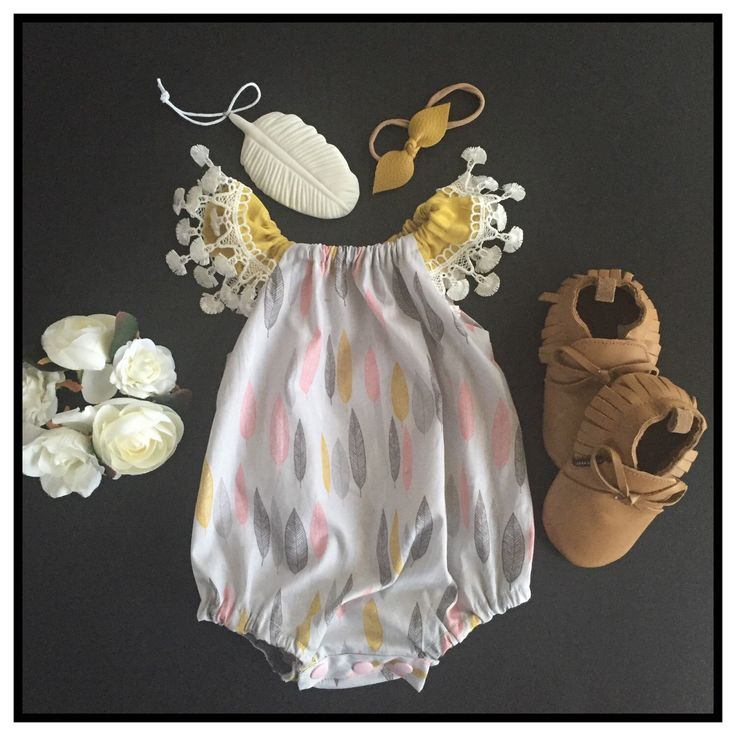 A personal favourite from my Etsy shop https://www.etsy.com/au/listing/270282127/baby-girl-romper-feather-print-linen-and