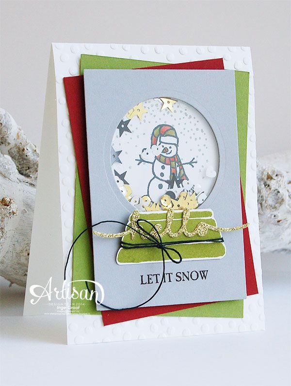 Sparkly Seasons Photopolymer Bundle, Greetings Thinlits Dies, Christmas Card, Snowglobe, Shakercard -Inge Groot-