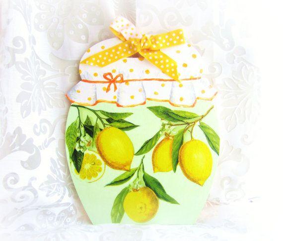 Wood cutting board lemons decorative wall hanging by GattyGatty