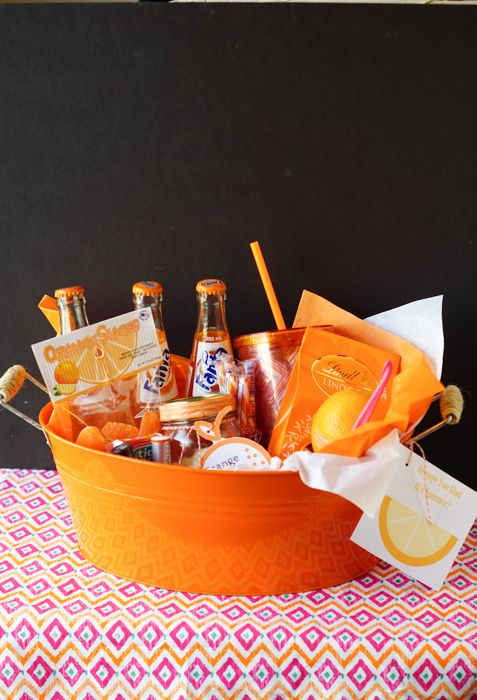 "This ""Orange You Glad Its Summer"" Teachers Gift Basket is all about the color orange and comes with a FREE printable!"