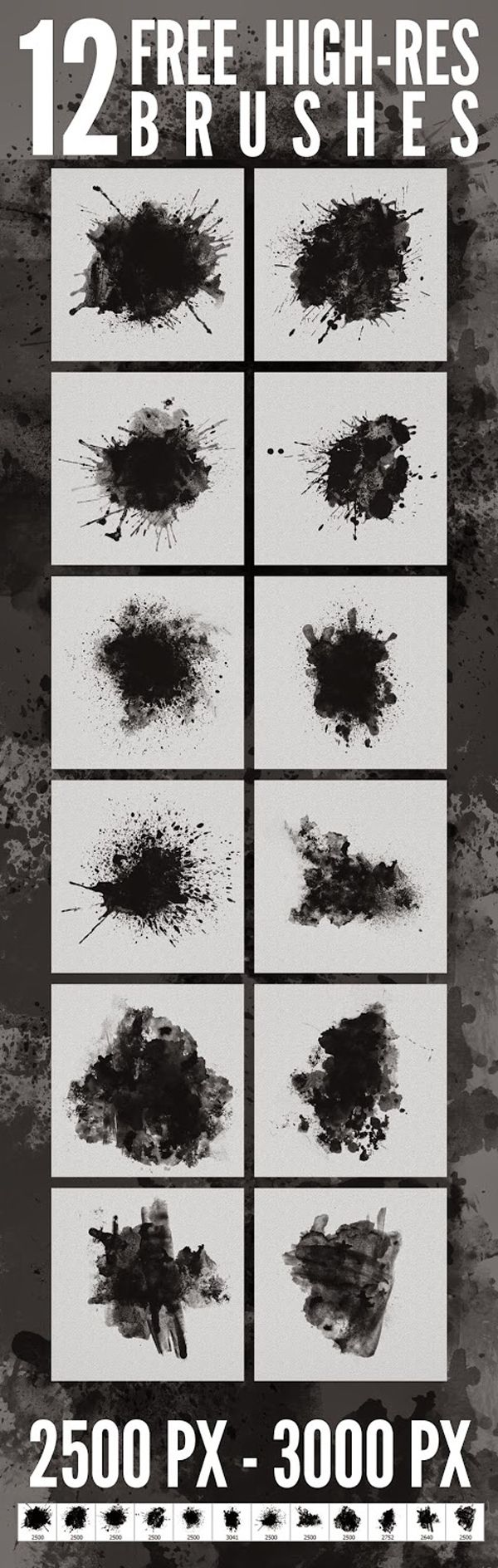 Free Dirty Artwork Brushes - Photoshop Add-ons (12 Brushes)