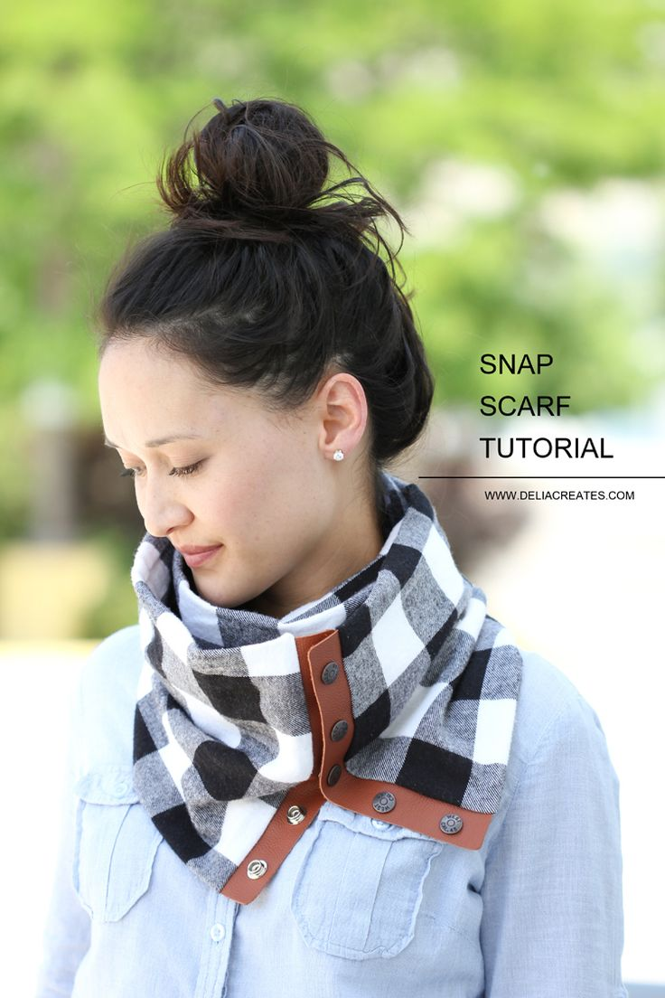 Schal nähen - DIY Leather + Flannel Snap Scarf Tutorial // Delia Creates