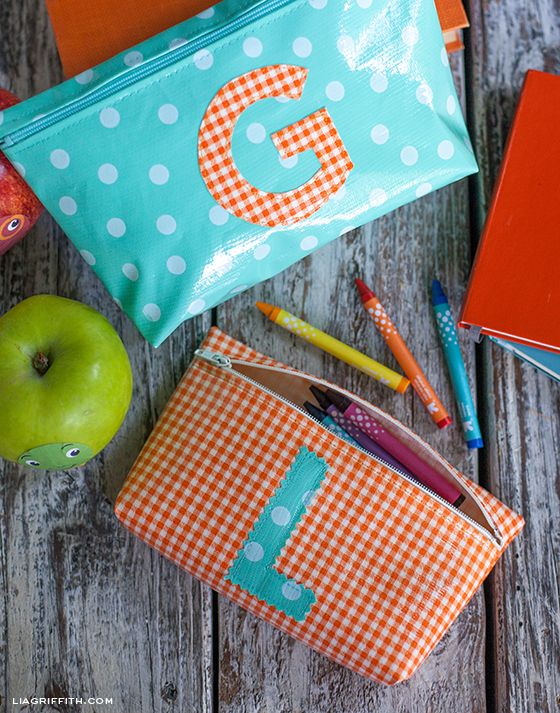 Make These Cute Monogrammed Zipper Bags! Freebie downloadable tutorial by Lia Griffith. :)