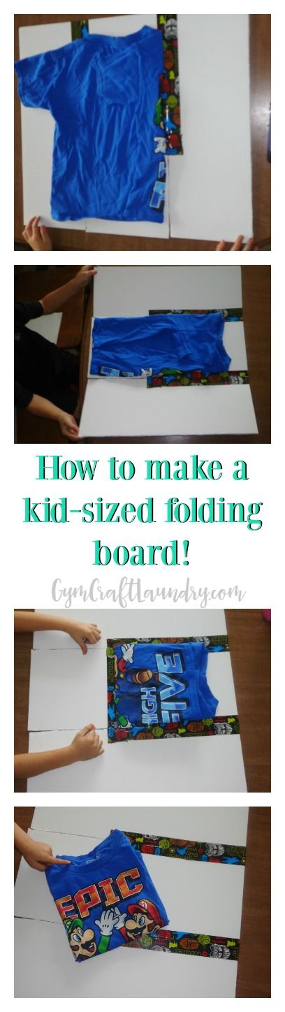 Easy and frugal kids folding board so the kids can fold the clothes as well as you do!