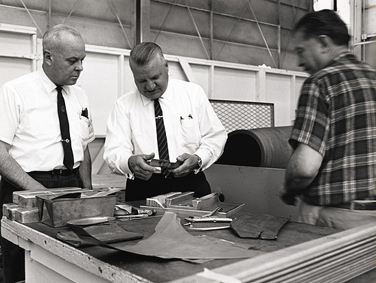 """Kelly Johnson's name, like Ed Heinemann's, has become attached to certain aircraft that are commonly referred to as """"his,"""" but as this image shows these men worked with teams of talented engineers and other specialists whose names and contributions we will likely never know."""